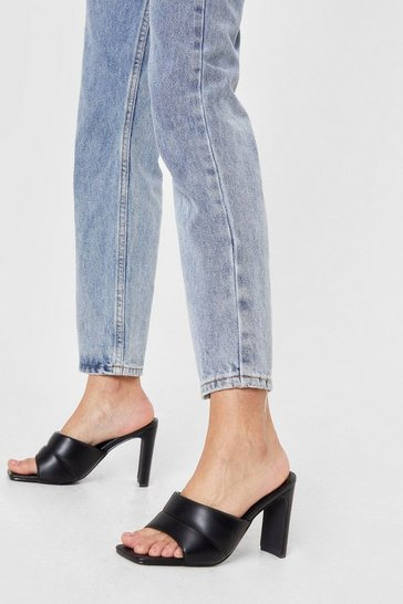 Black Padded Faux Leather Block Heeled Mules