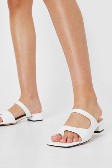 White Faux Leather Cut Out Block Heel Mules