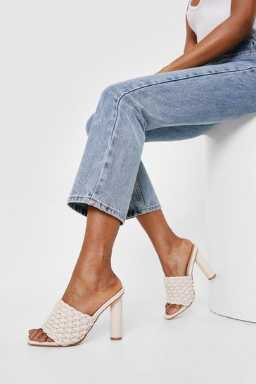 Cream Faux Leather Woven Open Toe Heeled Mules