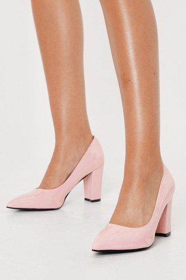 Baby pink Faux Leather Pointed Block Heeled Court Shoes