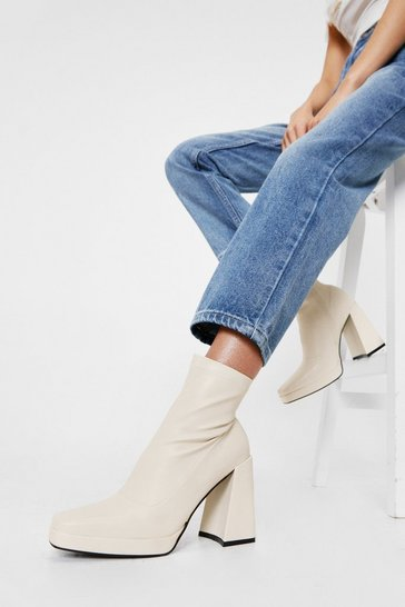 Cream Faux Leather Square Toe High Ankle Boots
