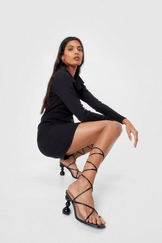 Faux Leather Ball Strappy Heeled Sandals | NastyGal
