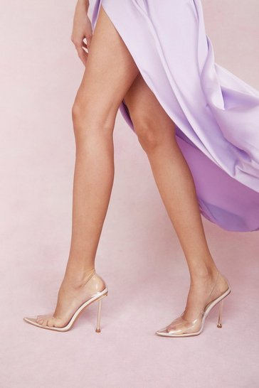 Cream Clear Pointed Pin Stiletto Heel Court Shoes