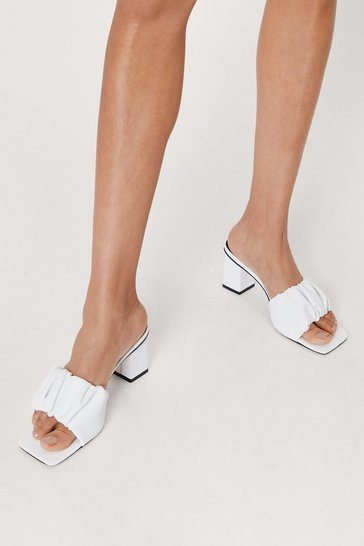 White Faux Leather Ruched Square Toe Block Heel Mules