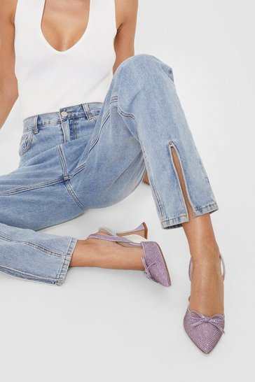 Lilac Diamante Slingback Stiletto Heels