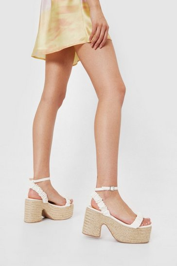 Off white Faux Leather Woven Platform Heeled Sandals