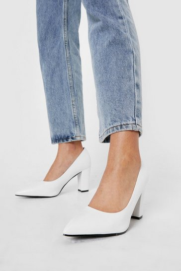 White Pointed Faux Leather Block Heeled Court Shoes