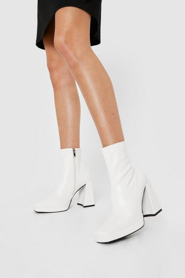 White Faux Leather Platform Square Toe Sock Boots
