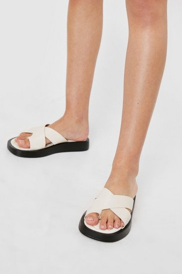 Cream Faux Leather Platform Toe Ring Sliders