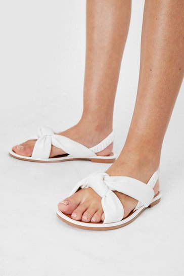White Faux Leather Twisted Padded Banana Sandals