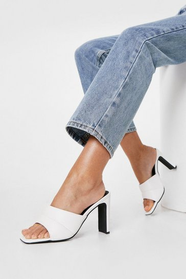 White Faux Leather Padded Heeled Mules