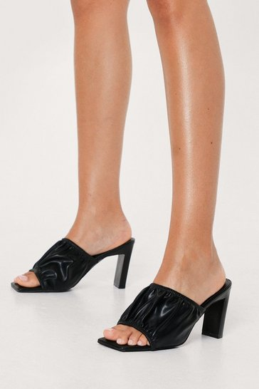 Black Gathered Faux Leather Open Toe Heeled Mules