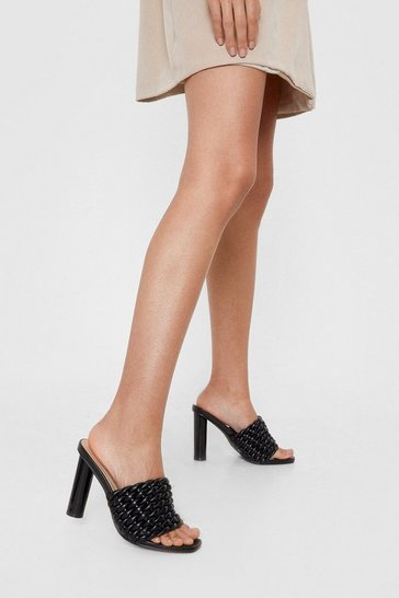 Black Faux Leather Knotted Heeled Mules