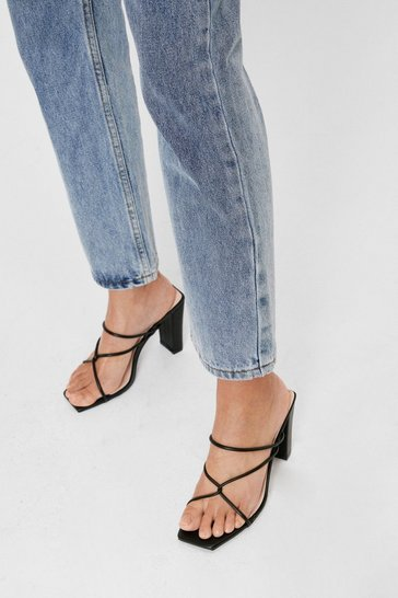 Black Strappy Faux Leather Block Heeled Mules