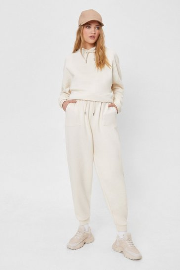 Ecru Casual High Waisted Sweatpants