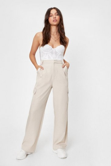 Ecru Twill High Waisted Tailored Pants