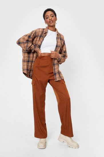 Rustic brown Forgive But Don't Pocket Twill Pants