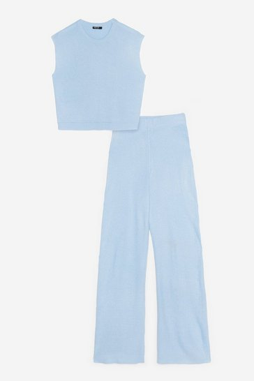 Light blue Knitted Tank Top and Wide Leg Pants Lounge Set