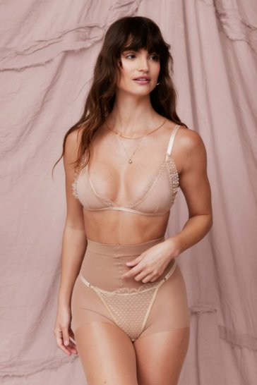 Nude Let's Mesh Around Triangle Bralette and Panty Set