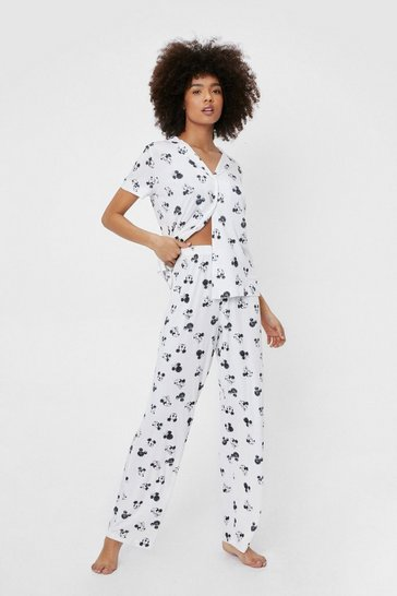 White Disney Mickey Mouse Graphic Pajama Pants