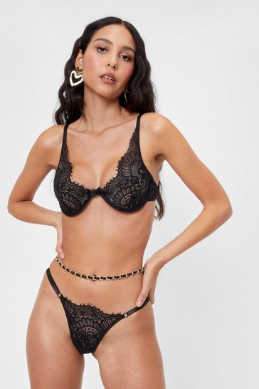Black Lace Get Down Tonight Bralette and Thong Set