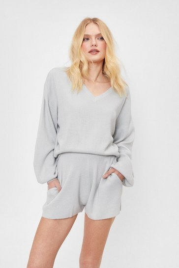 Grey Knitted V Neck Sweater and Shorts Lounge Set