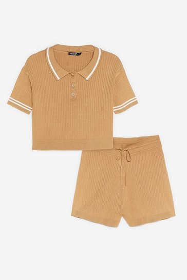 Coffee Ribbed Knit Polo Top and Shorts Lounge Set