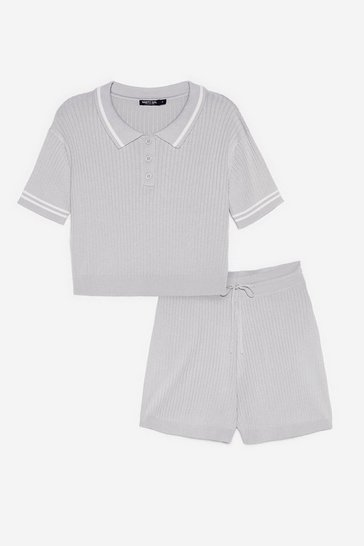 Grey Ribbed Knit Polo Top and Shorts Lounge Set