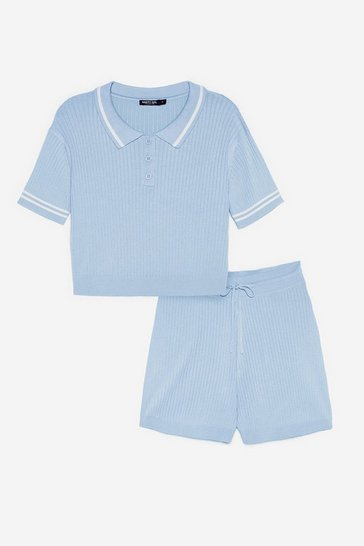 Pale blue Ribbed Knit Polo Top and Shorts Lounge Set