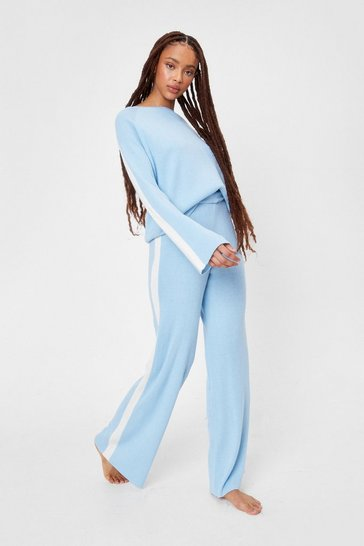 Pale blue Side Stripe Sweater and Wide Leg Pants Set
