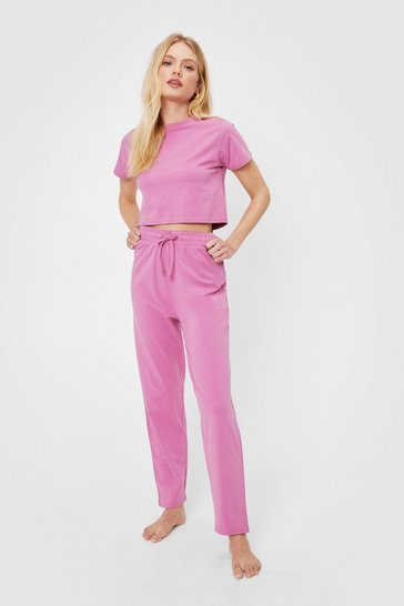 Mauve Cropped T-Shirt and Joggers Pajama Set