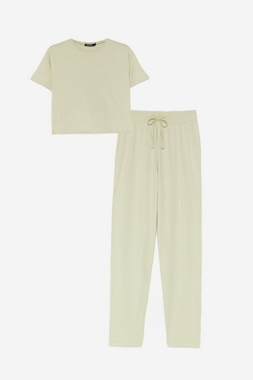 Sage Cropped T-Shirt and Joggers Pajama Set