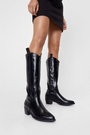 Black Faux Leather Western Knee High Boots