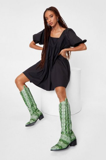 Citrus green Faux Leather Snake Print Cowboy Boots