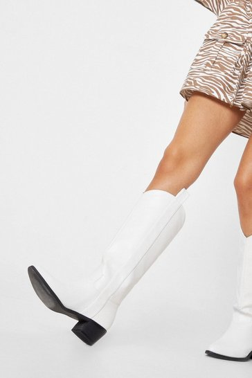 White Faux Leather Western Knee High Heeled Boots