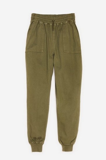 Khaki Let's Pocket Together High-Waisted Relaxed Pants