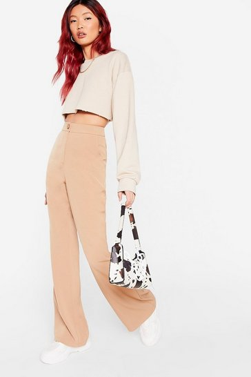 Tan High Waisted Button Flares