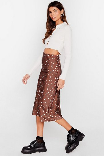 Chocolate You Only Get One Spot Satin Midi Skirt