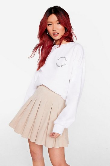 Beige Corduroy Pleated Mini Skirt