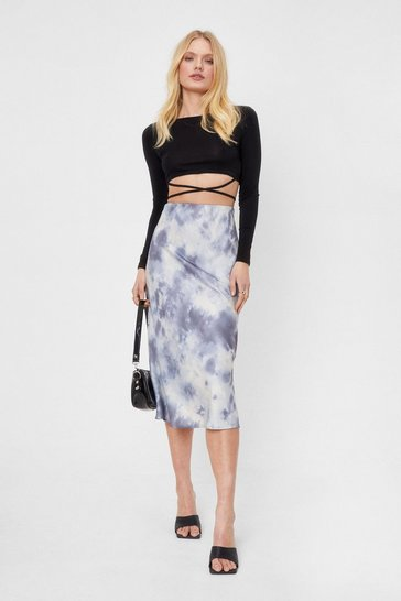 Multi Make It Satin Tie Dye Midi Skirt