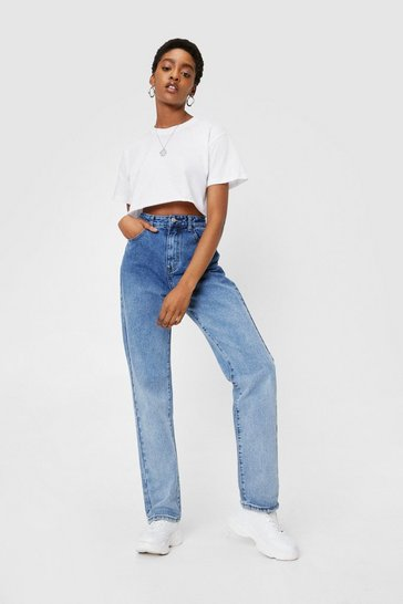 Mid blue Ombre High Waisted Wide Leg Jeans