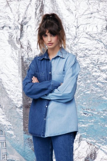 Mid blue Two Tone Oversized Button Down Denim Shirt