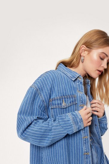 Vintage blue Pinstripe Oversized Denim Shirt