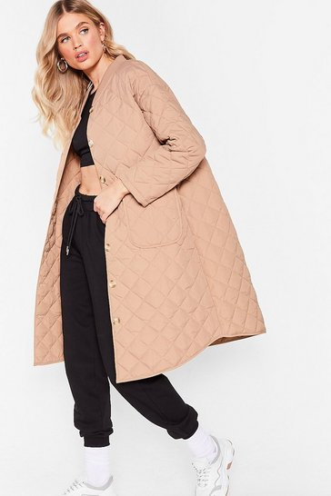 Beige Layer It on the Line Quilted Longline Coat