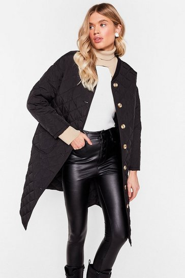 Black Quilted Oversized Button Down Longline Coat
