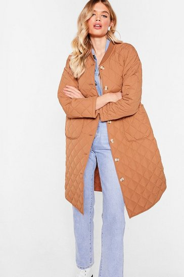 Camel Quilted Oversized Button Down Longline Coat
