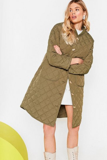 Khaki Quilted Oversized Button Down Longline Coat