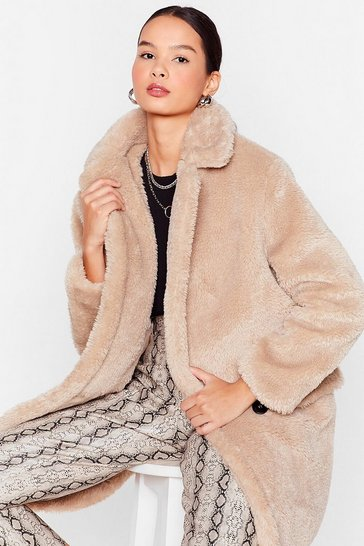 Beige Faux Fur Relaxed Longline Coat