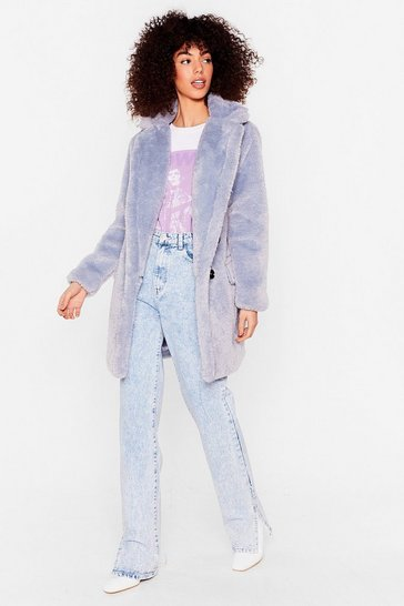 Blue Faux Fur Relaxed Longline Coat
