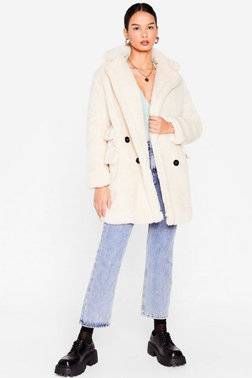 Cream Faux Fur Relaxed Longline Coat